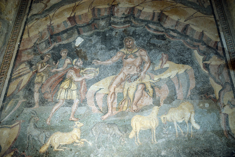 Ulisse e Polifemo Mosaici della Villa del Casale Piazza Armerina