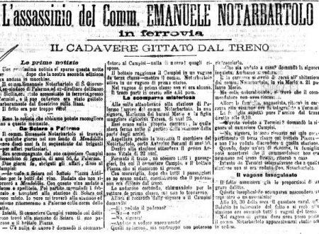 """EMANUELE NOTARBARTOLO: """"…un delitto eccellente rimasto impunito"""""""